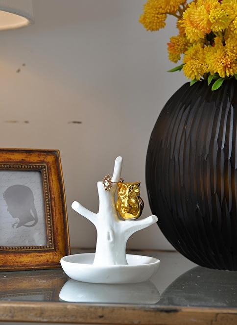 Warm Design Altın Baykuş Motifli Yüzük Tutucu  Beyaz